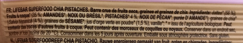 Lifebar chia pistachio - Ingrédients - fr