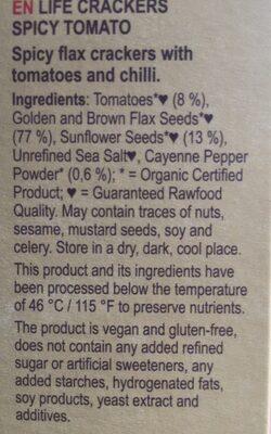 Lifefood Life Crackers Pikante Tomaat - Ingrédients