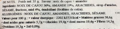 Nutrend Cashew & Almond 35g - Ingrediënten - fr