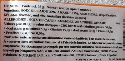 Nutrend Cashew & Almond 35g - Informations nutritionnelles - fr
