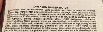 Low Carb Protein Bar 30 - Ingrediënten - fr