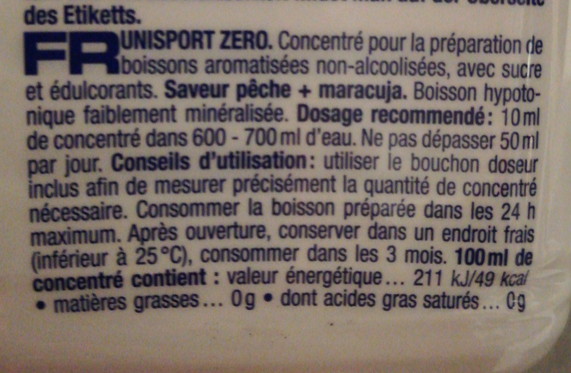 Uni sport - Ingrediënten - fr