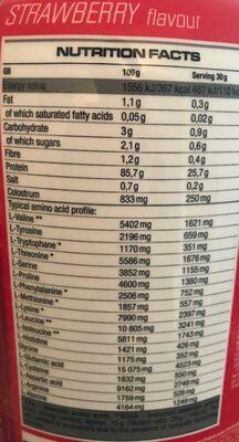 100% whey islolat - Informations nutritionnelles - en