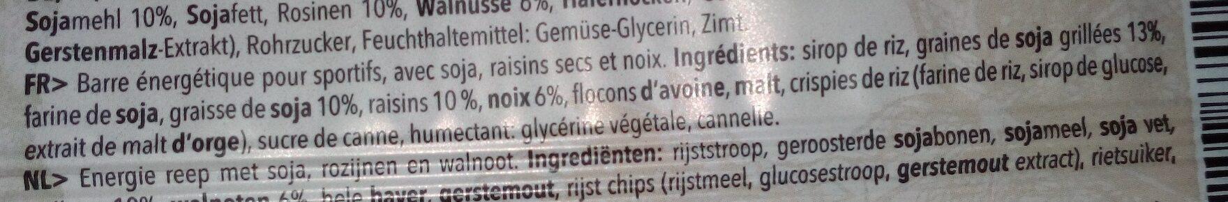 Barre énergétique raisin sec et noix - Ingrédients