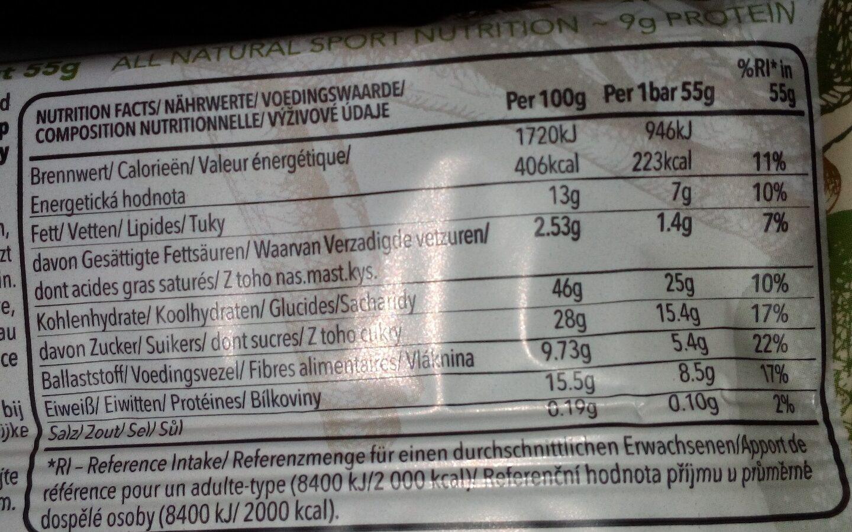 Barre énergétique raisin sec et noix - Informations nutritionnelles