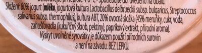 Farmářský jogurt slazený s meruňkami - Ingredients - cs