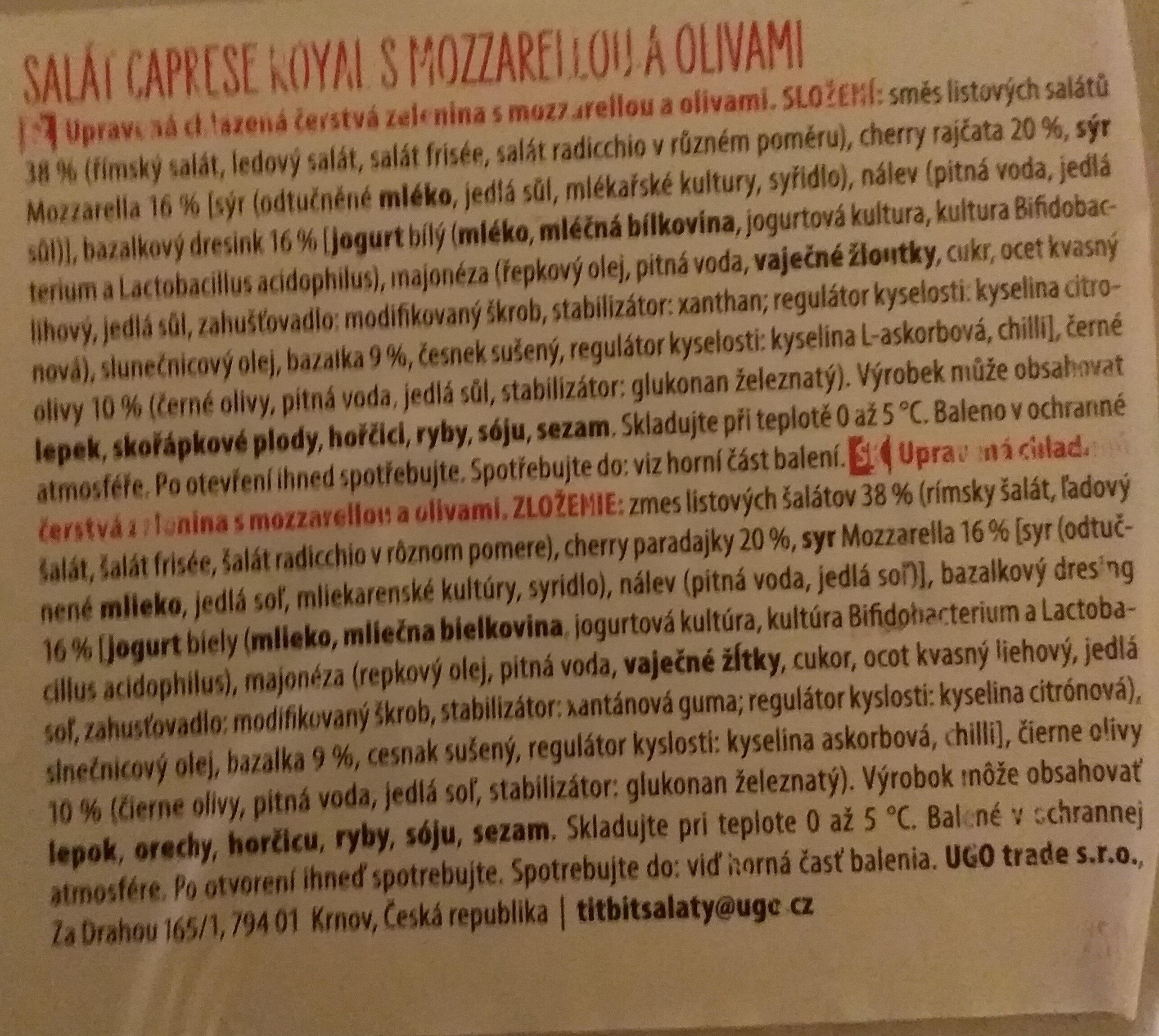 Titbit Salát Caprese Royal s mozzarelou a olivami - Ingredients - cs