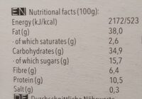 Hazelnut Raw Vegan Cookie - Nutrition facts - de