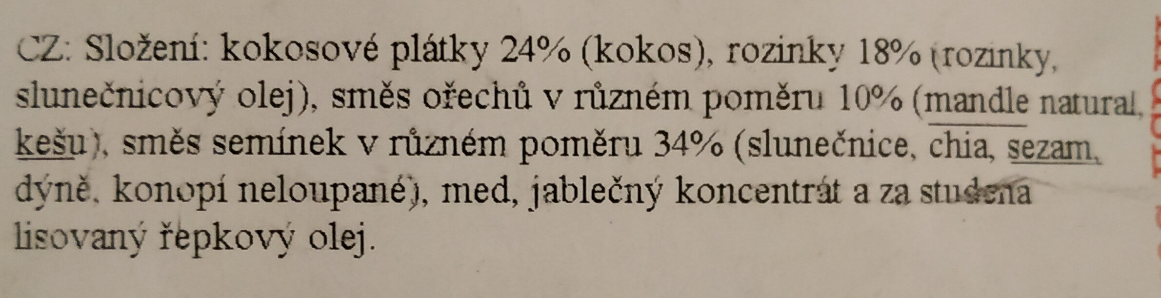 Spékané paleo - Ingredients - cs