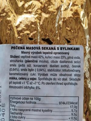 Pečená masová sekaná s bylinkami - Ingrédients - cs