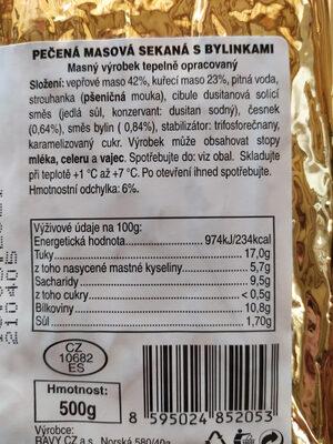 Pečená masová sekaná s bylinkami - Informations nutritionnelles - cs