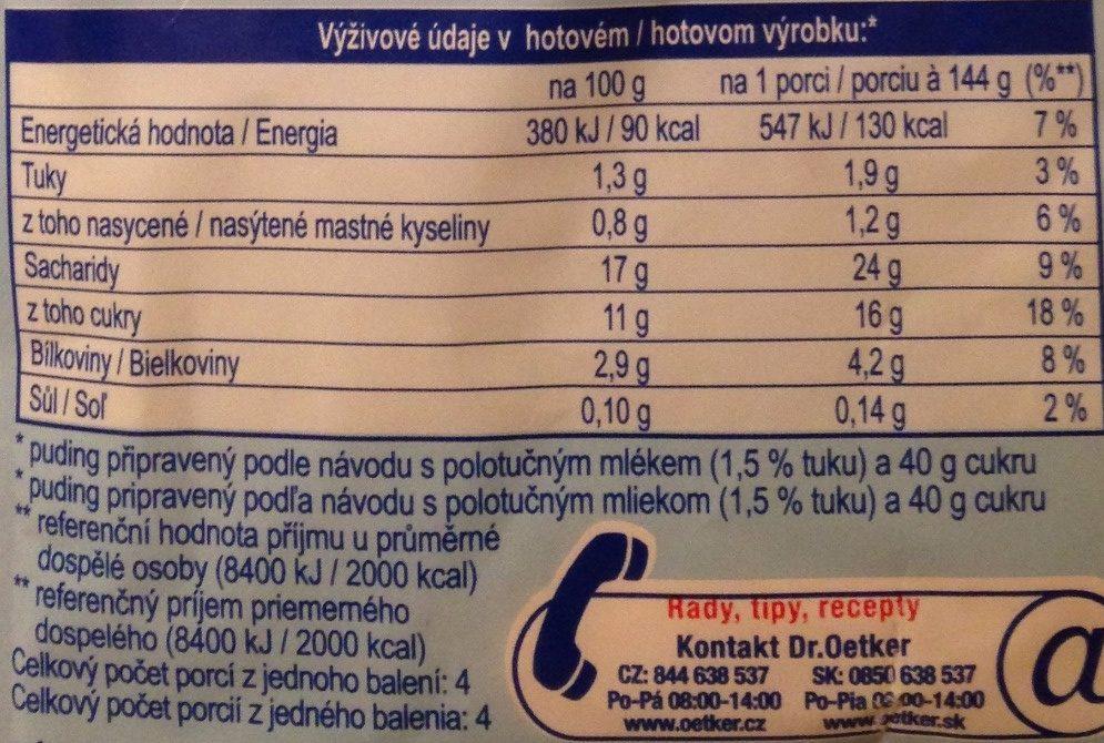 Puding vanilka - Voedigswaarden