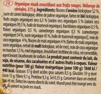 Emco Organic Muesli With Red Fruits - Informação nutricional - fr