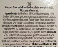 Granola chocolate & almond - المكونات - en