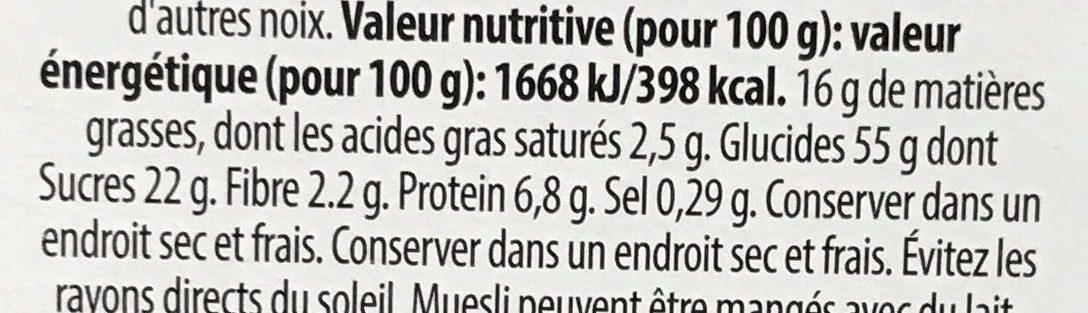 Granola honey & nutsنتململ - Valori nutrizionali - fr