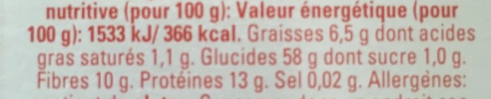 Flocons d'avoine petites feuilles - Informations nutritionnelles - fr