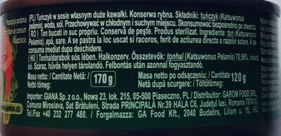 Tuńczyk w sosie własnym duże kawałki - Składniki - pl