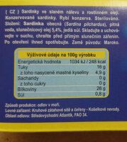 Sardinky ve slaném nálevu a rostlinném oleji - Nutrition facts - cs