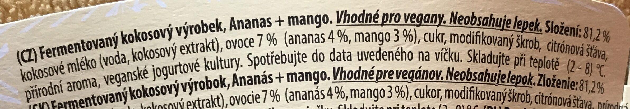 Fermentovaný kokosový výrobek, Ananas + mango - Ingrédients - cs