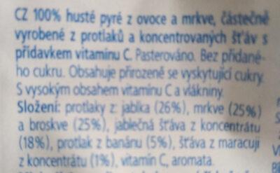 100% pyré - jablko, mrkev, broskev, banán, maracuja - Ingredients - cs
