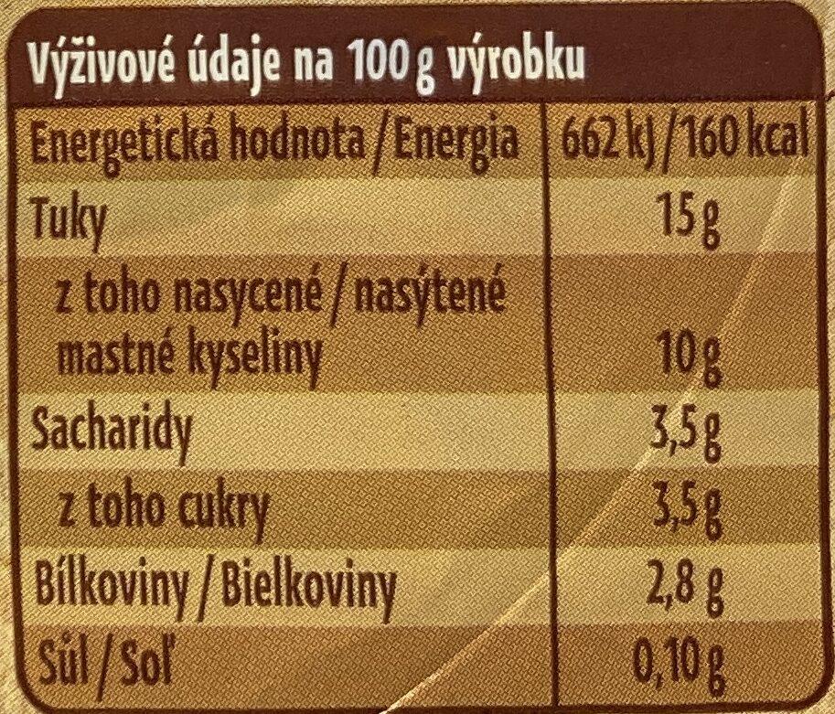 Bio zakysaná smetana - Información nutricional - cs