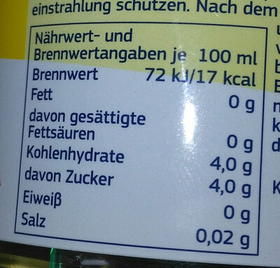 Zitrone Geschmack - Nutrition facts