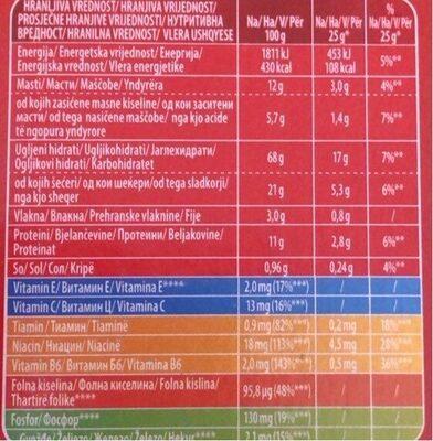 Bambi - Plazma Keks - Informations nutritionnelles