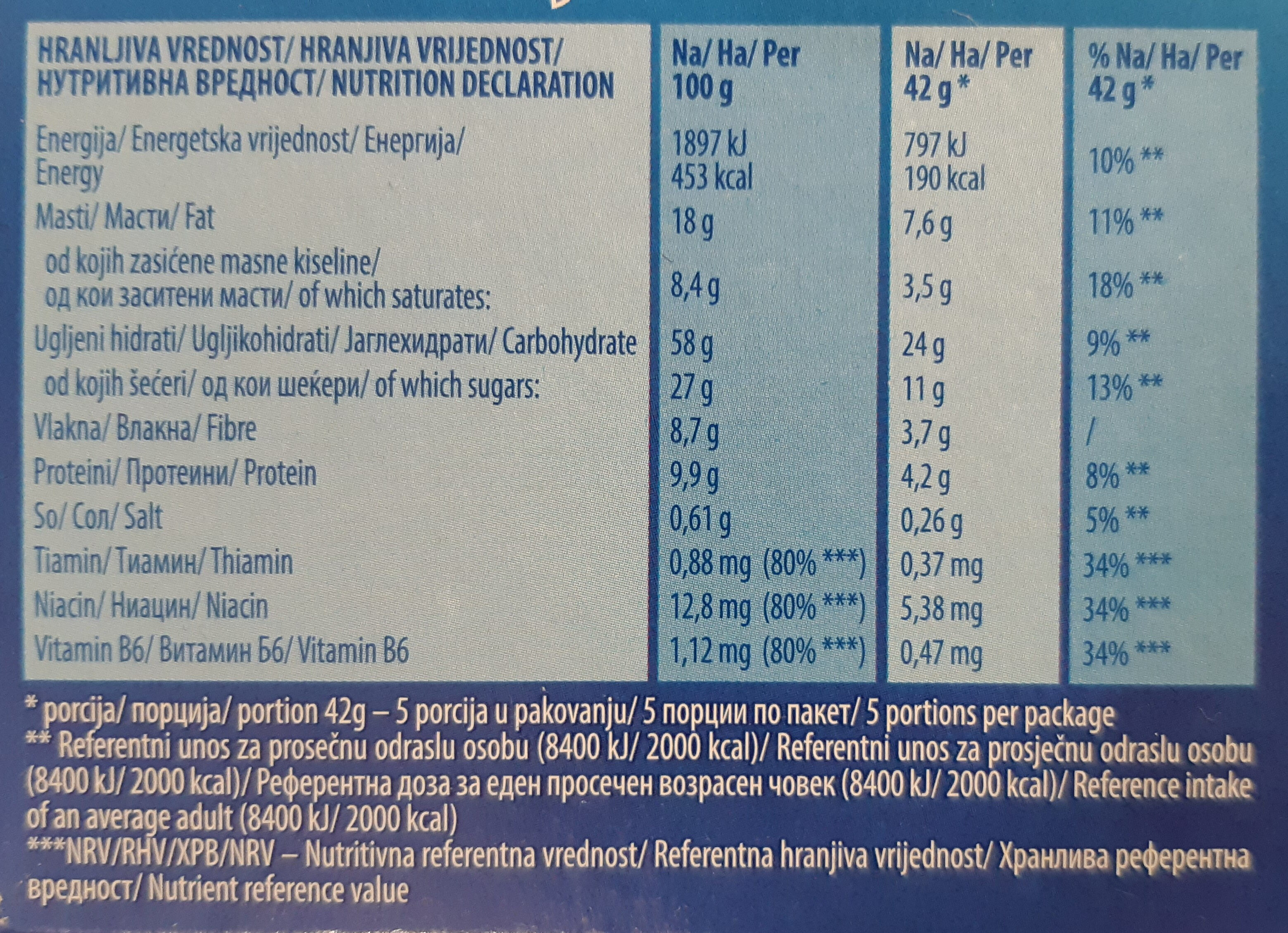 Wellness komadići crne čokolade - Informations nutritionnelles - sr