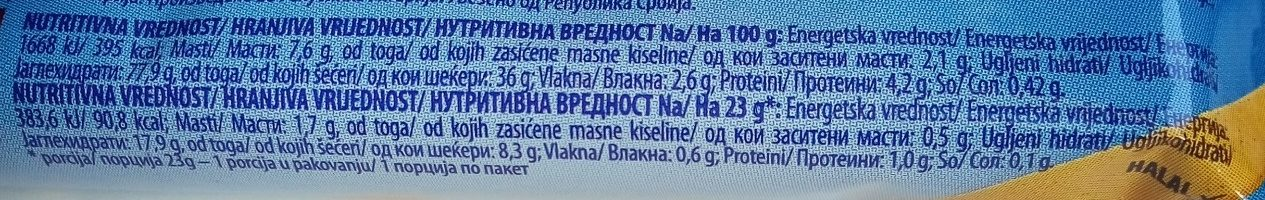 Wellness kajsija & med - Nutrition facts - sr