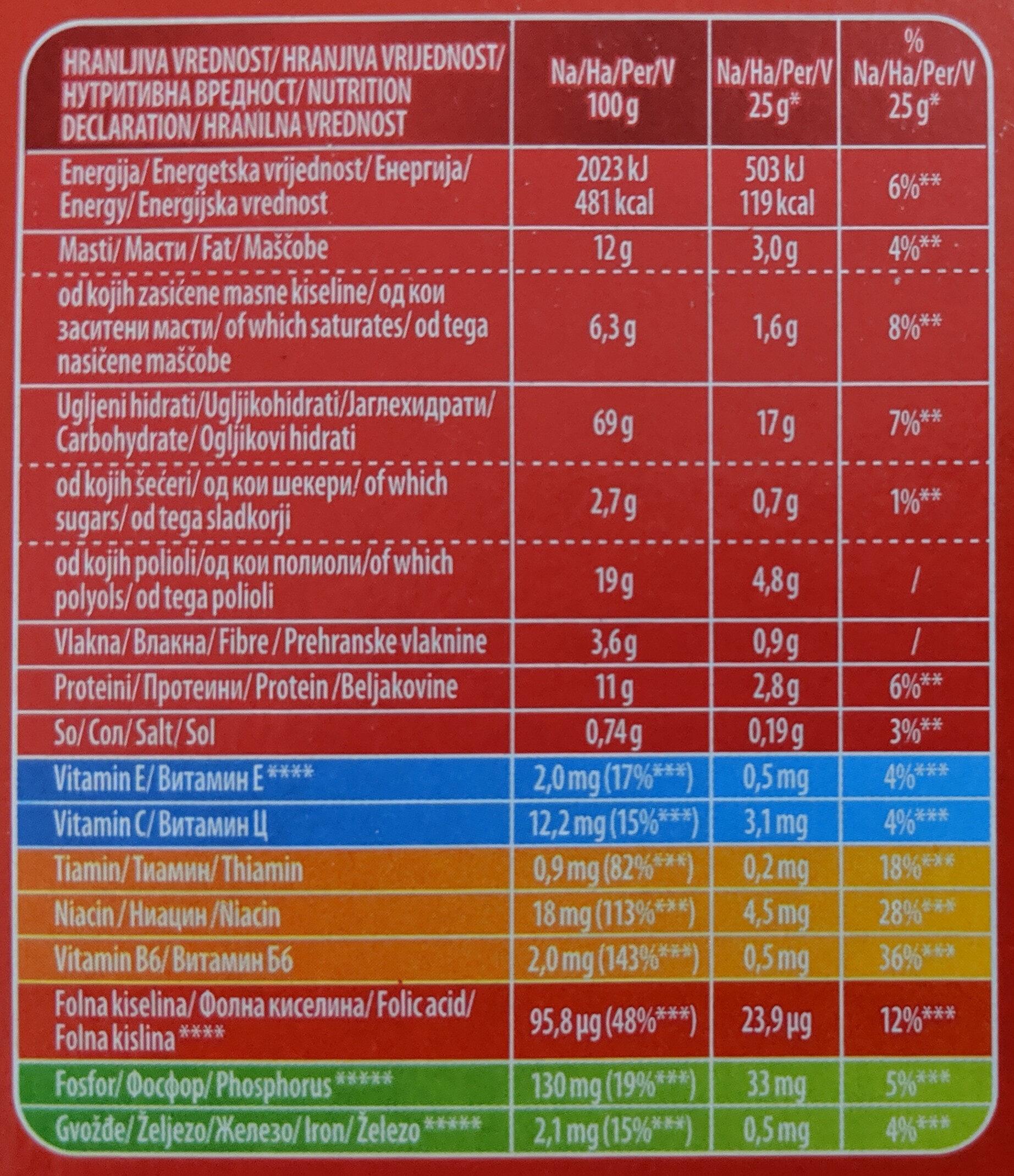Plazma Diet - Informazioni nutrizionali - fr