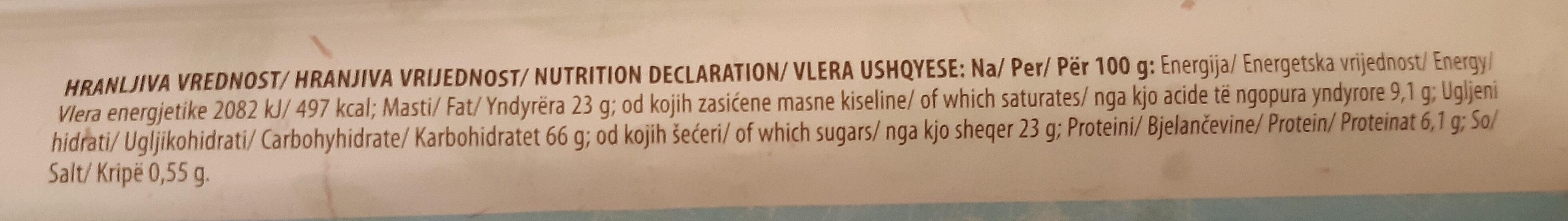 Kokos galete - Informations nutritionnelles - sr