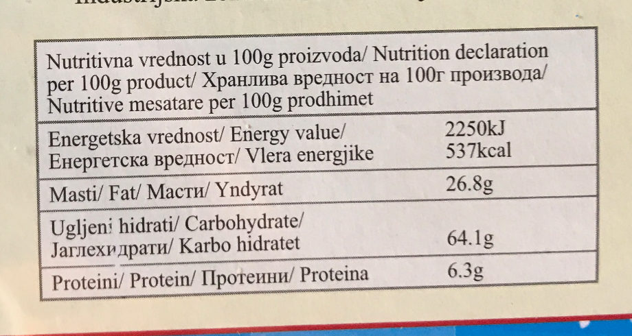 Romantic mešavina - Nutrition facts