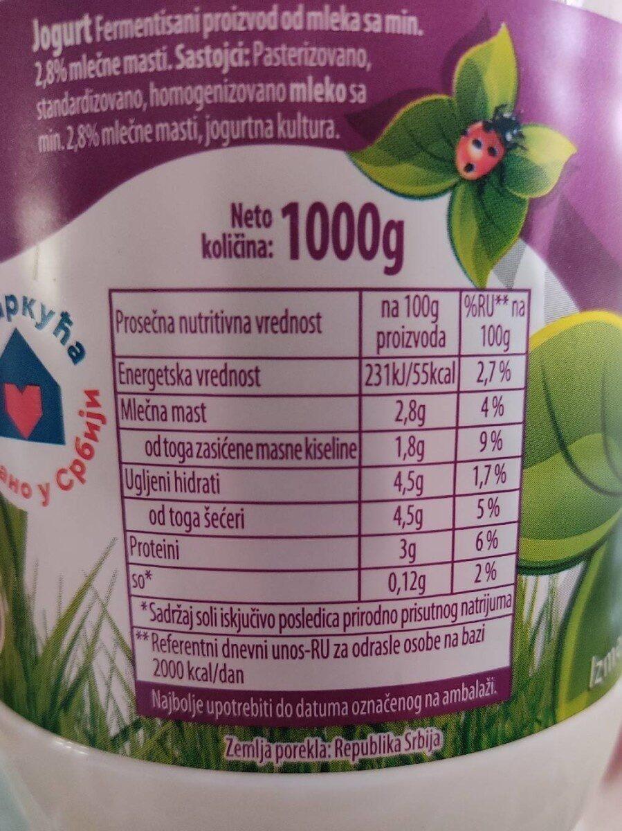 Jogurt - Nutrition facts - sr