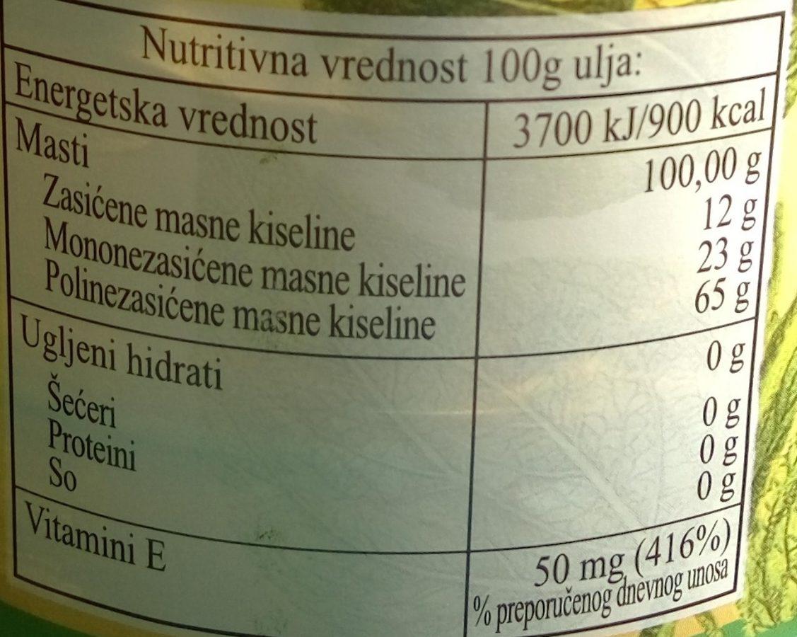 Jestivo rafinisano biljno ulje suncokreta - Voedingswaarden