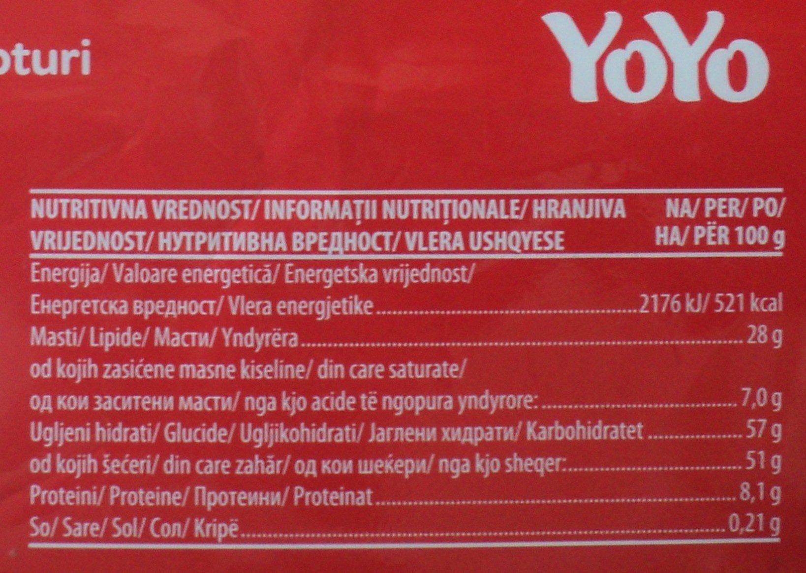 Yoyo Crema de cacao cu orez expandat - Informations nutritionnelles