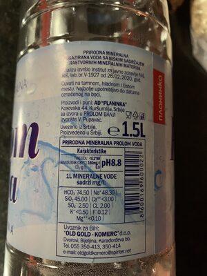 Prolom voda - Ingredients - en