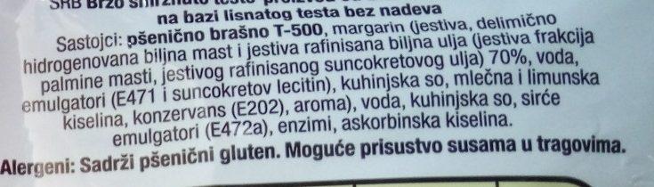 Lisnato testo - Ingrédients - sr