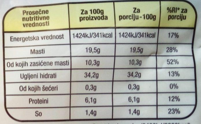 Lisnato testo - Informations nutritionnelles - sr
