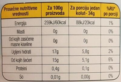 Ananas kolutovi - Informations nutritionnelles - sr
