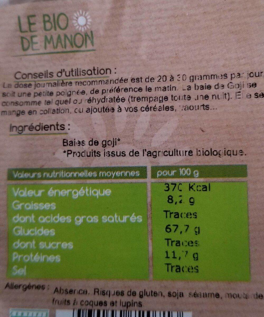 BAIES DE GOJI - Informations nutritionnelles - fr