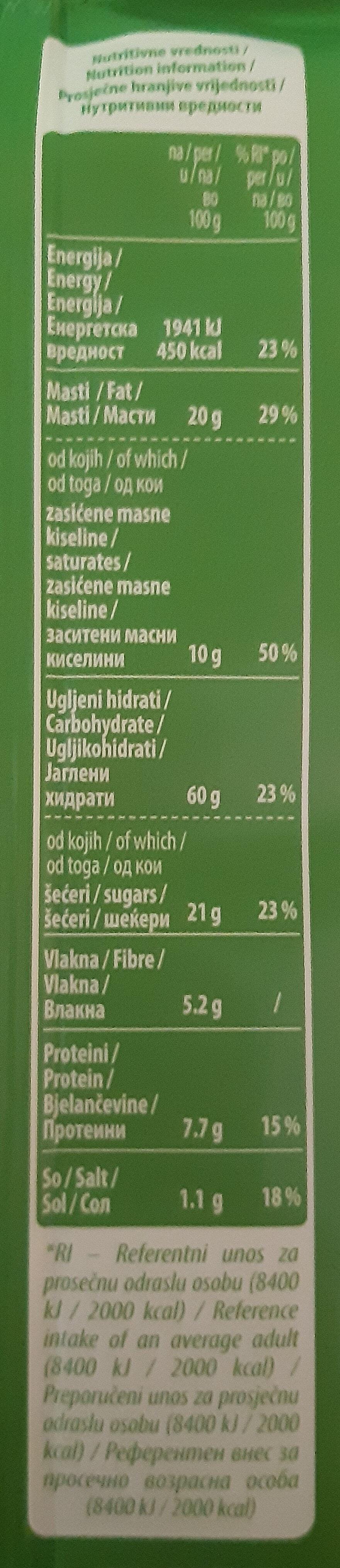 O'cake Original sa belgijskom čokoladom - Voedingswaarden - sr