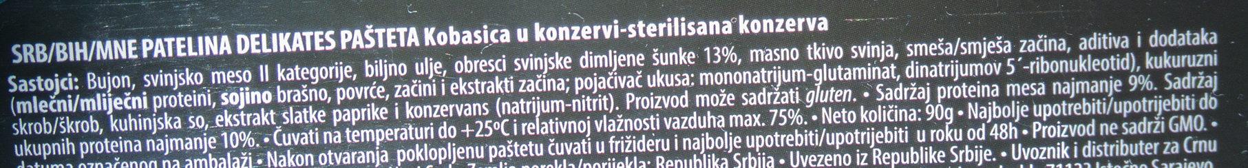Patelina strong - delikates - Inhaltsstoffe - sr