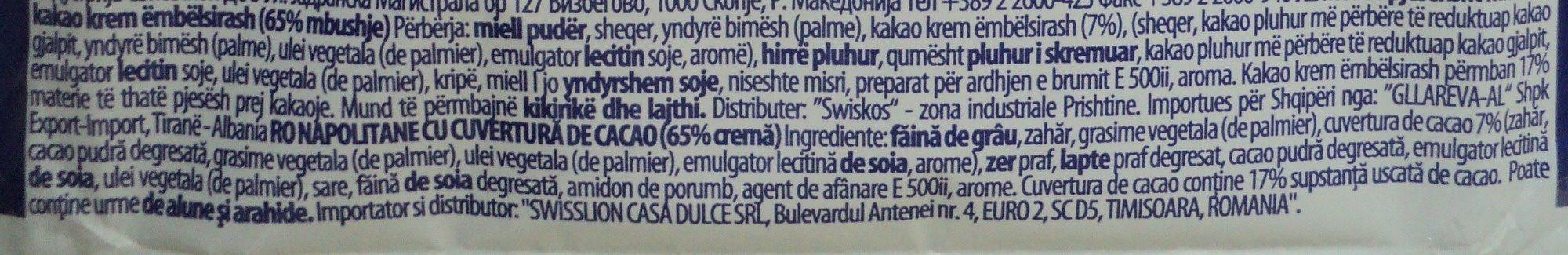 Linea Napolitana cu cuvertura de cacao - Ingredients - ro