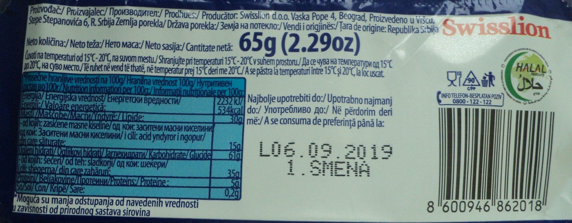 Linea Napolitana cu cuvertura de cacao - Nutrition facts - ro