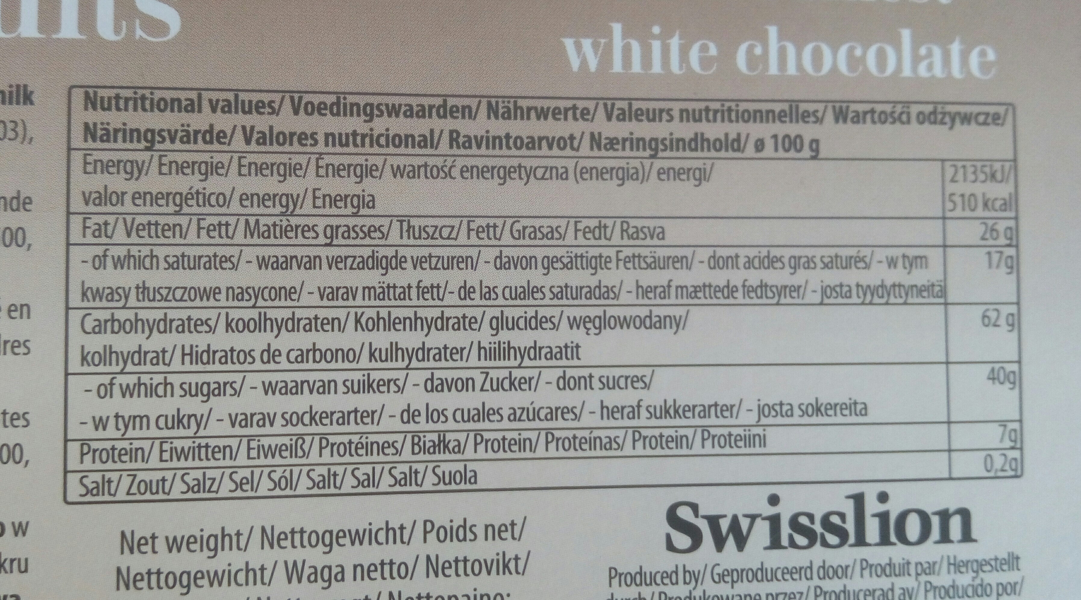 Choco biscuit blanc - Nutrition facts