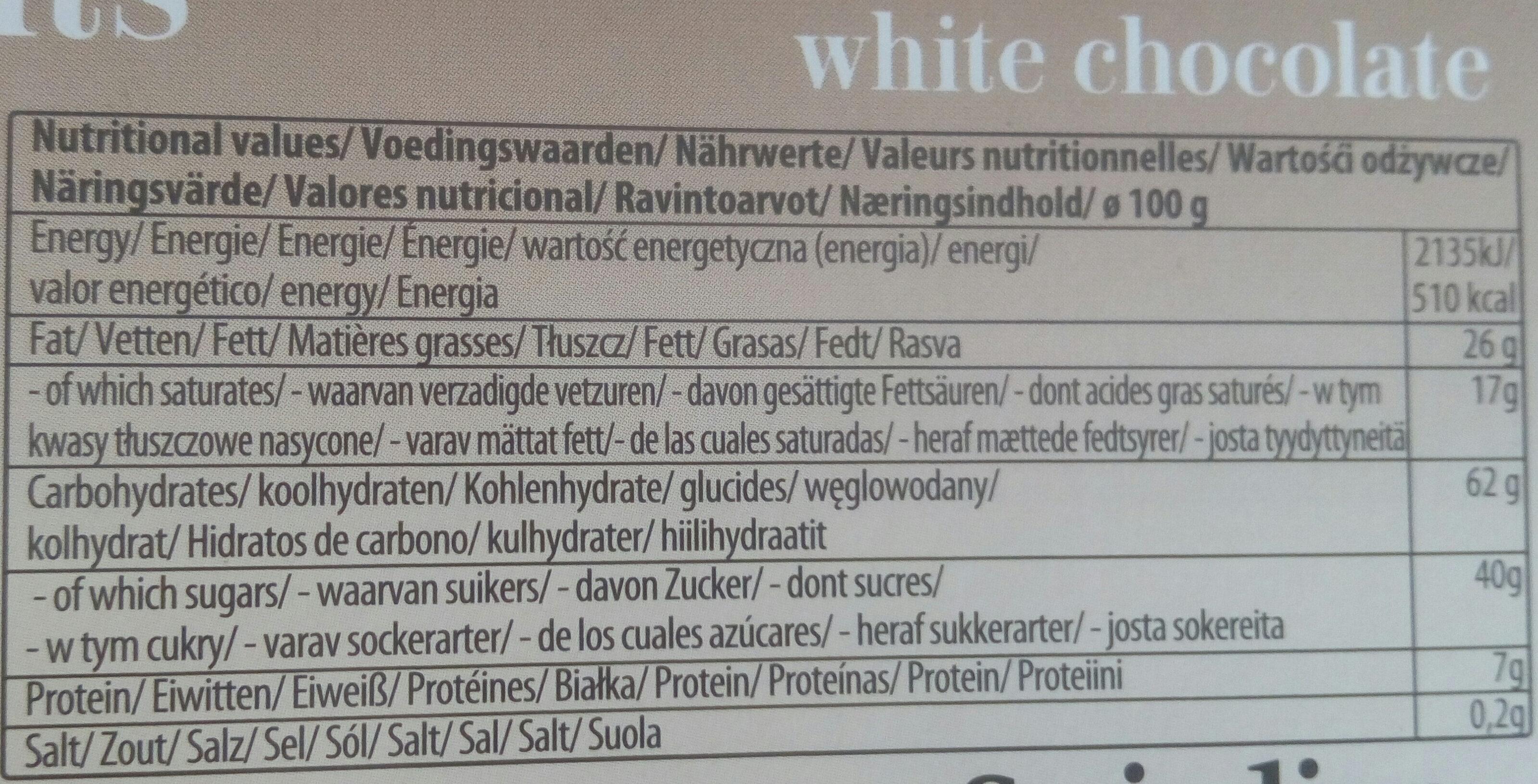 Choco biscuit blanc - Voedingswaarden - fr