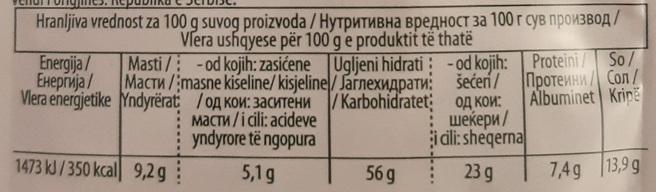 Aleva Quik - instant krem supa od paradajza - Informations nutritionnelles - sr