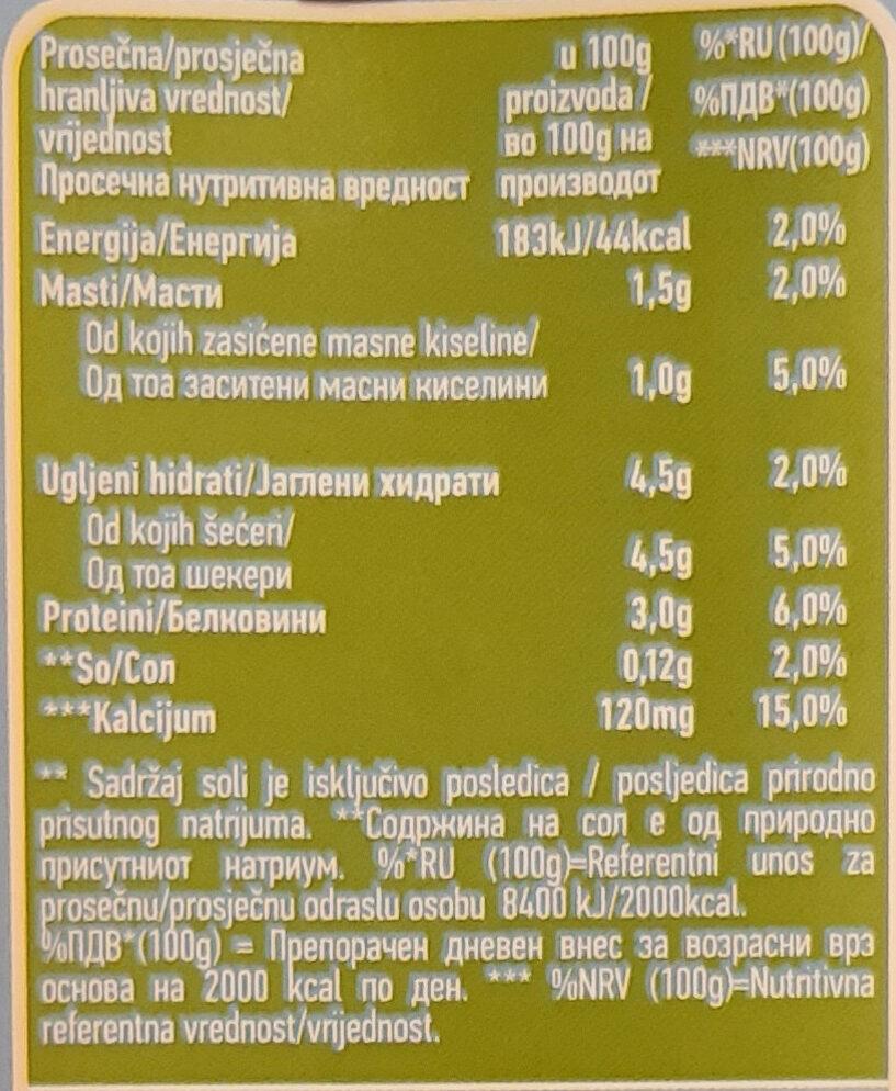 Moja Kravica dugotrajno mleko - Informations nutritionnelles - sr