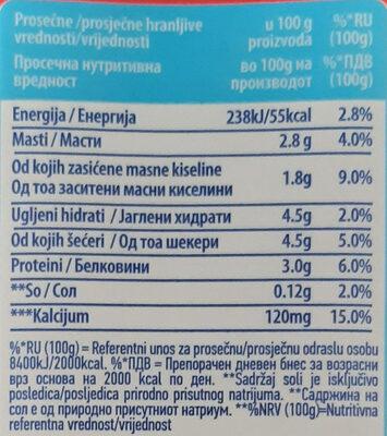 Moja Kravica sveže mleko - Informations nutritionnelles - sr