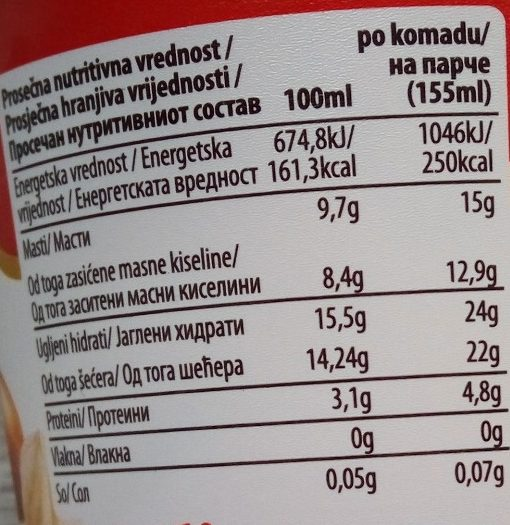 Eurocrem sladoled - Informations nutritionnelles